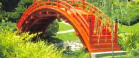 Japanese Garden - Orange small bridge in the park