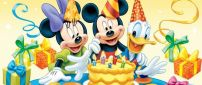 Happy birthday Mickey Mouse with Minnie and Donald