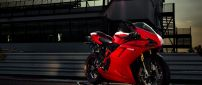 Beautiful red Ducati 1198 motorcycle