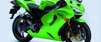 Motorcycle Kawasaki Ninja in bright green and black