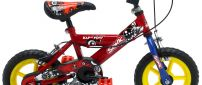 Colorful kids' bike with training wheels