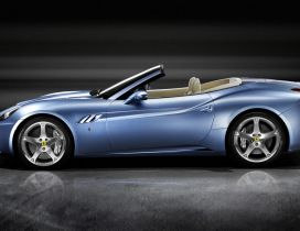 Blue convertible Ferrari California