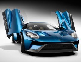 Blue Ford GT Studio with opened doors