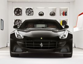 Stunning black Ferrari FF in a garage