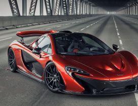 Red McLaren P1 on a bridge - Sport car