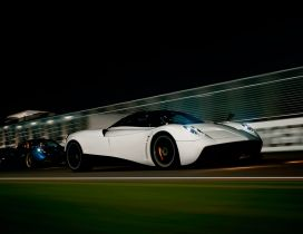 White gorgeous Pagani Huayra in night