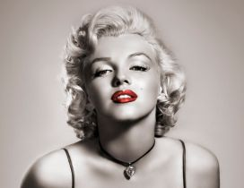 American actress Marilyn Monroe with red lips