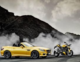 Yellow Mercedes SLK AMG and Ducati Streetfighter