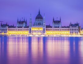 Stunning Budapest Parliament building lighted