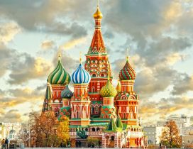 Colorful St. Basils Cathedral from Moscow