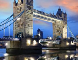 Sunset over the beautiful London Tower Bridge
