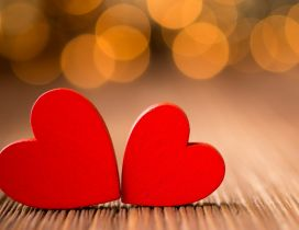 Two red little hearts - Love wallpaper
