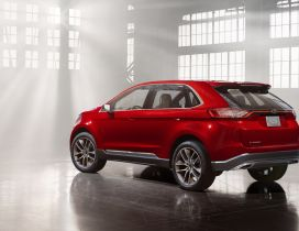 Red Ford Edge Concept in a garage