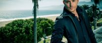 Actor Jensen Ackles on a terrace on the beach
