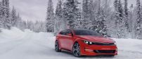 Red Kia Sportspace Concept in snow