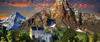 Neuschwanstein Castle in mountains