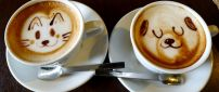 Funny coffee with dog and cat face