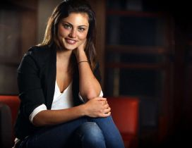 Phoebe Tonkin with a cute smile on her face