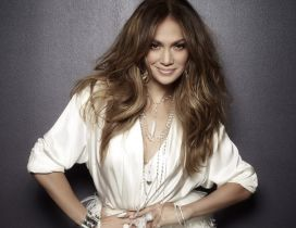 Beautiful singer Jennifer Lopez in white