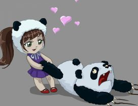 A little girl playing with a panda - Anime wallpaper