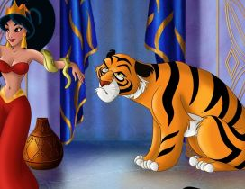 Jasmine with her friends, a snake and a tiger
