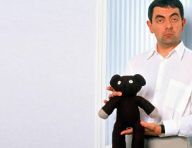 The comedian Mr Bean with his toy