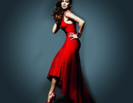 Actress Jennifer Lopez in red dress