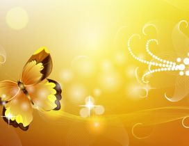 Yellow and brown butterfly - Vector and design wallpaper