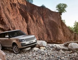 Gray Range Rover on the rocks