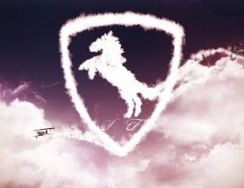 Ferrari logo made of clouds and a plane