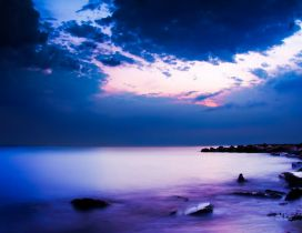 Amazing evening with purple sky in Cap Sani, Greece
