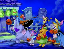 Funny animals from cartoons in the Halloween night