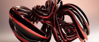 Black and red 3D glass shape