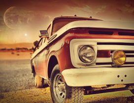 Vintage red car in the sunset - HD wallpaper old car