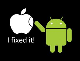 Apple vs Android - I fixed it - Funny wallpaper