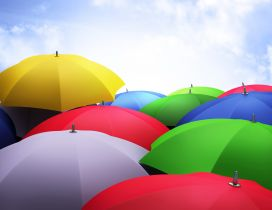 Lots of coloured umbrellas - HD wallpaper