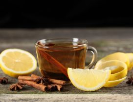Hot tea with lemon and cinnamon - Winter drink