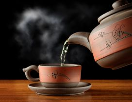 Hot tea in special brown cup - HD wallpaper