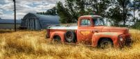 Old red truck in the wheat field - HD wallpaper