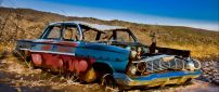 Old car destroyed on the road - HD wallpaper