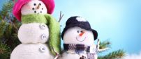 Funny sweet snowmen - Happy Christmas Holiday