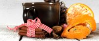 Christmas moments - hot tea with cinnamon and orange