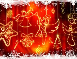 Merry Christmas and a Happy New Year - angels singing carols