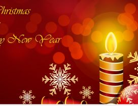 Merry Christmas and a Happy New Year - beautiful candle