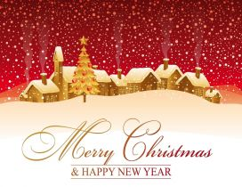 Merry Christmas and Happy New Year - white village