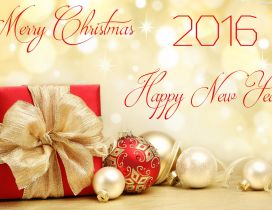 Merry Christmas and a Happy New Year - golden wallpaper