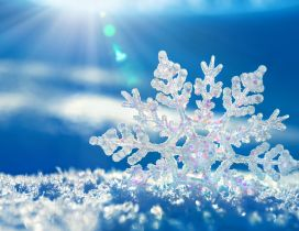 Beautiful 3D snowflake in the sunlight