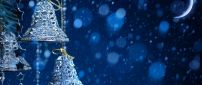 Blue winter night - bells and moon HD wallpaper