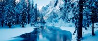 Cold winter mountain river - White nature landscape