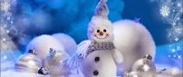 Sweet little snowman and white Christmas accessories